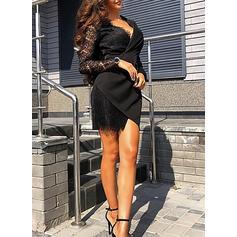 Koronka/Jednolita Długie rękawy Pokrowiec Nad kolana Mała czarna/Casual/Elegancki Sukienki