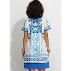 Print Short Sleeves Shift Knee Length Casual/Boho/Vacation Dresses