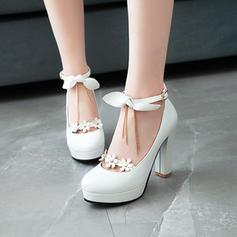 Naisten PVC Chunky heel Avokkaat Platform jossa Bowknot Ketju Tupsu Kukka kengät