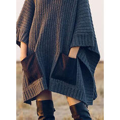 Solid 3/4 Sleeves Shift Above Knee Casual Sweater Dresses