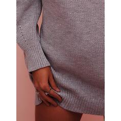 Jednolity Masywna dzianina Golf Casual Długie Sukienka sweterkowa