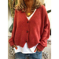 Solid Chunky knit V-Neck Cardigan