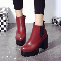Femmes PU Talon bottier Escarpins Bout fermé Bottes avec Bande élastique chaussures