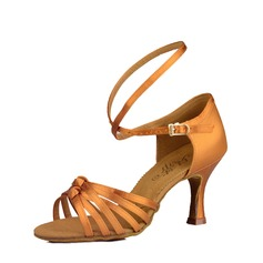 Women's Latin Heels Sandals Satin Real Leather Latin