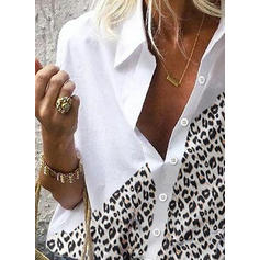 Animal Print Patchwork Lapel Long Sleeves Casual Shirt Blouses