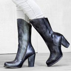 Femmes PU Talon bottier Bottes mi-mollets avec Zip chaussures