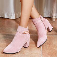 Femmes PU Talon bottier Bottes avec Boucle Zip Autres Couleur unie chaussures