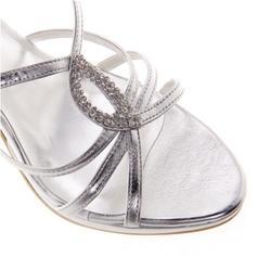 Шкіра Шпилька Сандалі Насоси взуття на короткій шпильці з Сіяючі камені взуття