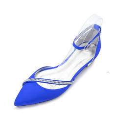 Women's Silk Like Satin Flat Heel Closed Toe Flats Sandals With Buckle
