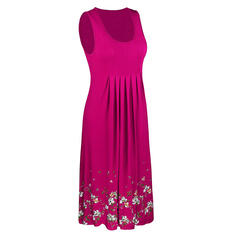 Estampado/Floral Sem mangas Evasê Comprimento do joelho Casual/Férias Vestidos