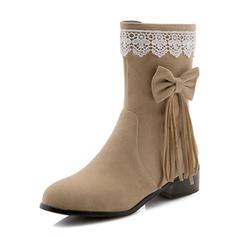 Femmes Suède Talon bas Bout fermé Bottes Bottes mi-mollets avec Bowknot Tassel chaussures