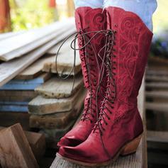 Frauen PU Stämmiger Absatz Stiefel-Wadenlang mit Zuschnüren Schuhe