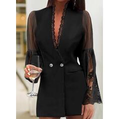 Lace/Solid Long Sleeves Sheath Above Knee Little Black/Elegant Dresses