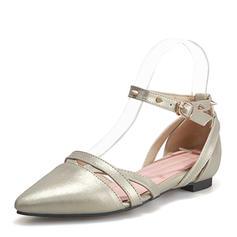 Mulheres Couro Sem salto Sandálias Sem salto Fechados Mary Jane com Rivet sapatos