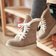 Women's Suede Flat Heel Ankle Boots Snow Boots With Lace-up shoes
