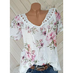 Floral V Neck Short Sleeves Casual Elegant Blouses