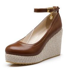 Vrouwen Kunstleer Wedge Heel Plateau Closed Toe Wedges met Strass Gesp schoenen