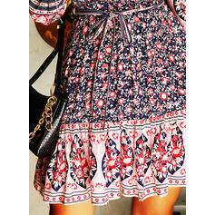Nadrukowana/Kwiatowy Długie rękawy W kształcie litery A Nad kolana Casual/Boho/Wakacyjna Łyżwiaż Sukienki