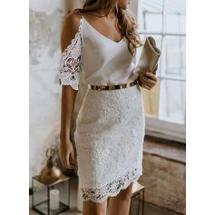 Csipke/Egyszínű 1/2-es ujjú Testre simuló ruhák Térd feletti Party/Elegáns φορέματα