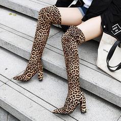 Vrouwen PU Chunky Heel Pumps Laarzen Over De Knie Laarzen schoenen