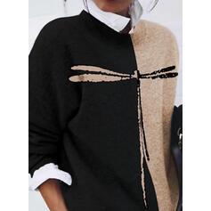 Bloque de Color Estampado Animal Cuello Redondo Casuales Suéteres