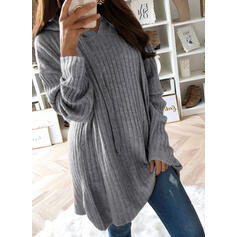 Solid Ribbed Hooded Casual Long Sweaters