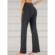Solid Patchwork Shirred Long Casual Elegant Yoga Pants