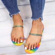 Femmes PU Talon plat Sandales Tongs avec Strass chaussures