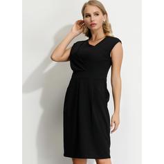 Solid Sleeveless Sheath Knee Length Little Black/Party Dresses