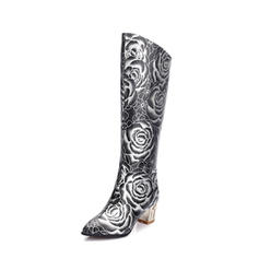 Women's PU Chunky Heel Pumps Boots Knee High Boots With Zipper Others shoes