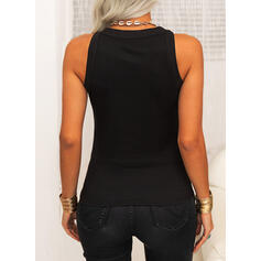 Solid Round Neck Sleeveless Casual Basic Tank Tops