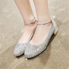 Kvinder Mousserende Glitter Stor Hæl Pumps Mary Jane med Delt Bindeled sko