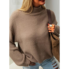 Solid Waffle Knit Chunky knit Turtleneck Casual Sweaters