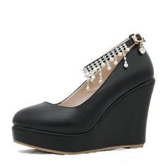 785856ba31a [US$ 32.99] Women's Leatherette Wedge Heel Closed Toe Platform Pumps Wedges  MaryJane With Buckle Imitation Pearl Rhinestone Chain - VeryVoga