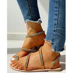 Pentru Femei PU Fară Toc Sandale Puţin decupat în faţă Şlapi cu Ştrasuri pantofi