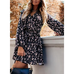 Print Long Sleeves A-line Above Knee Casual Wrap/Skater Dresses