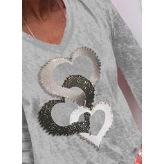 Impresión Cuello en V Manga Larga Casual Camisetas