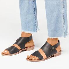 Mulheres PU Salto robusto Sandálias Peep toe com Oca-out sapatos
