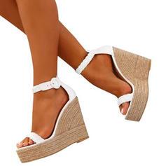 Жіночі Шкіра Танкетка Сандалі взуття на короткій шпильці з Пряжка взуття