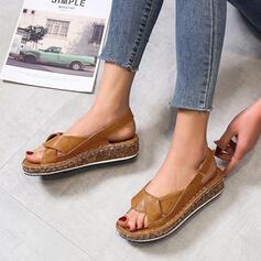 Жіночі ПУ Низька підошва Сандалі взуття на короткій шпильці з Липучка взуття