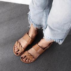 De mujer PU Tacón plano Sandalias Planos Encaje con Cordón zapatos
