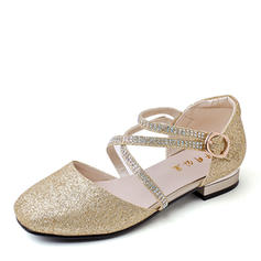 Girl's Microfiber Leather Flat Heel Closed Toe Ballet Flat Flats Flower Girl Shoes With Buckle Sparkling Glitter
