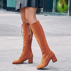 Női PU Tűsarok Chunky sarok Mid-Calf Csizma -Val Lace-up cipő