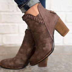 Women's Suede Chunky Heel Ankle Boots With Animal Print shoes