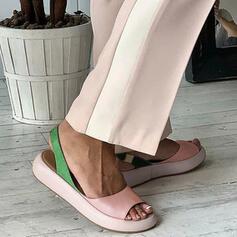 Mulheres PU Sem salto Sandálias Peep toe com Cor da emenda sapatos