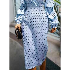 Pöttyös Hosszú ujjú Testre simuló ruhák Ołówkowa Elegáns Midi φορέματα
