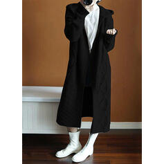 Polyester Manches longues Couleur unie Cardigans