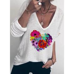 Drucken Blumen V-Ausschnitt Lange Ärmel Freizeit T-shirts