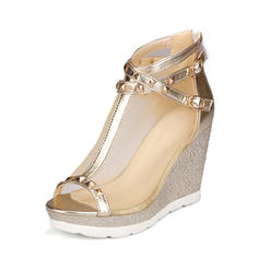 Frauen Mesh PU Keil Absatz Absatzschuhe Keile mit Schnalle Schuhe