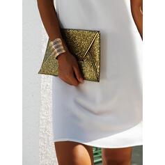 Koronka/Jednolita/Bez pleców Krótkie rękawy Koktajlowa Nad kolana Elegancki Tunika Sukienki